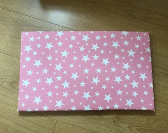 Cushion for Toy Box Seat in Pink with White Stars (fits Sort the Kids Toy Box/desk)