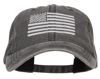 Silver Line USA Flag Embroidered Washed Cap