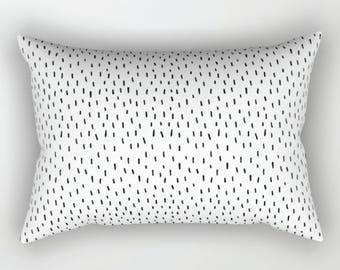 Accent Pillow, Kids Pillow, Black White Decorative Pillow, Monochrome Confetti Pillow Cover, Rectangular Pillow, Nursery Cusion, Home Decor