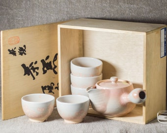 Tea set - Japanese kyusu side handled teapot with 5 Yunomi tea cups and Tomobako (wooden box), Hagi ware, handmade *0467