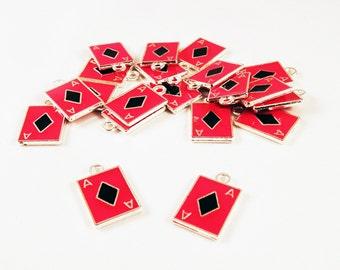 BCP144 - Charms, ACE of diamonds card playing Poker Red Black / Red Black Ace of Diamond Poker Playing Card Pendants