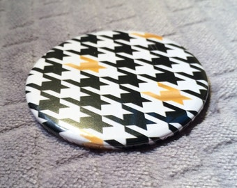 Pocket Mirror Houndstooth Black White and Gold / dogstooth / puppytooth / geometric
