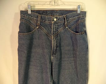80s high waist Rockies jeans// Vintage Rocky Mountain Clothing// Blue medium wash pocket-less back// Women's size 12/13 USA 32 W