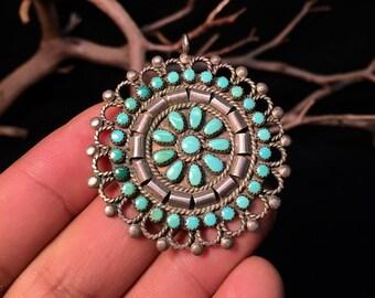 Vintage Navajo Sterling Silver/ Turquoise Cluster Brooch/Pendant   #170