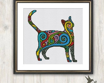 Rainbow Cat Cross Stitch Pattern, abstract animal cross stitch pattern, modern cross stitch pattern, cat cross stitch pattern, needlecraft