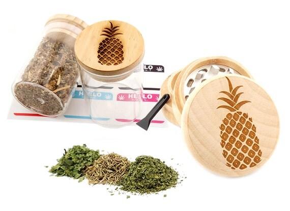 Pineapple Engraved Premium Natural Wooden Grinder & Wood Lid Glass Jar Gift Set # GS103116-28