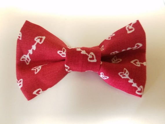 Red Arrow Bow for Cat or Small Dog Collars, Matching Velcro Collar