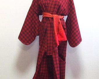 Red check kimono /vintage wool kimono robe
