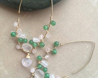 Wire Wrapped Gemstone Earrings, 14k Gold Filled Rose Quartz and Aventurine Earrings, Green and Pink 14k Gold Filled Earrings