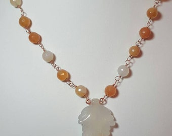 Wirework Carnelian Necklace with Carved Leaf Pendant, gift for mum, gift for her, gift idea, Autumnal, Gemstone, Copper Wire, birthday