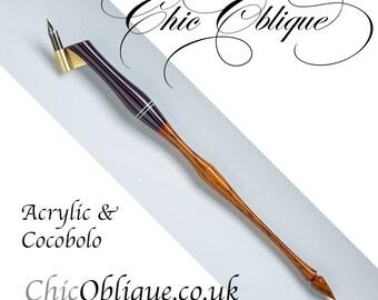 Oblique Pen Holder, Striped Body with cocobolo tail