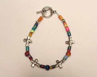 Multicolored Cross Bracelet