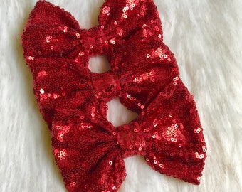 Red valentines sequin messy bow, red sparkly bow, Christmas red bow.