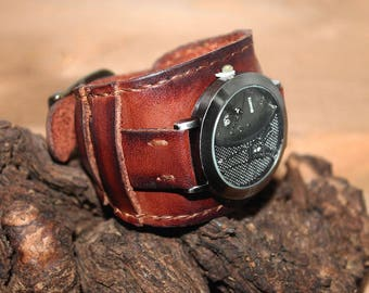 Women Watch, Watches for Women, Brown Leather Watch, Wrist Watch, Leather Watch, Leather watch cuff, Bracelet watch, Cuff watch