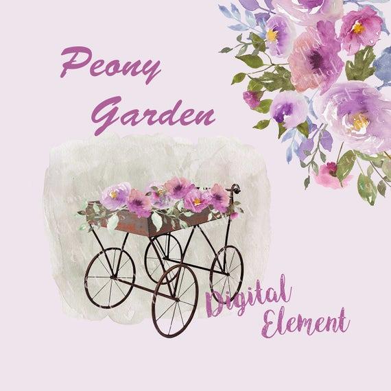Peony Floral Clip-art, Watercolor Lilac Clip-art, Lilac