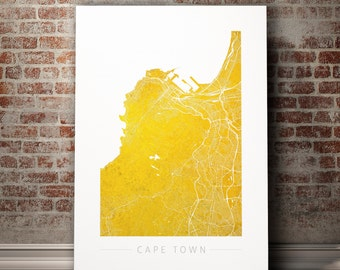 Cape Town Map - City Street Map of Cape Town, South Africa - Art Print Watercolor Illustration Wall Art Home Decor Gift - COLOUR PRINTS