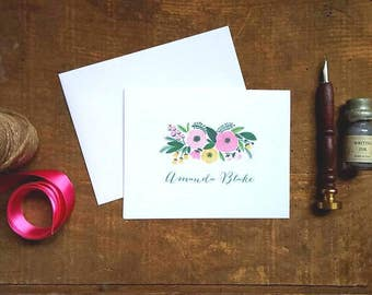 Rustic Floral Swag Personalized Folded Notes - Set of 10