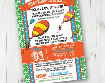 Oh The Places You'll Go, Dr. Seuss, Baby Shower Invitation, Printable Invitation, Gender Neutral Colors, Nursery Rhymes, Hot Air Balloon, Up