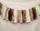 Fabric Garland/Rag Tie Garland/Plum Fabric Garland/Paisley Garland/Barn Wedding Decor/Plum Wedding/Purple Wedding/Custom Fabric Garland
