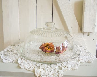 Vintage cake plate with glass dome cake plate cake stand