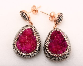 Turkish Handmade Jewelry Natural Pink Druzy Marcasite Swarovski Crystals 925 Sterling Silver Earrings