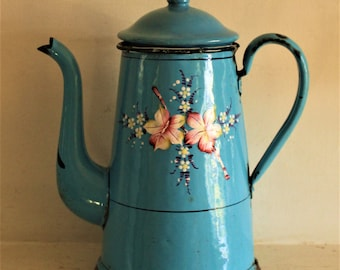 Vintage French Blue Enamel Coffee Pot
