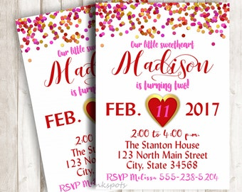 Valentine Invitation Valentine Invite Pink and Gold Invitation Heart Invitation Sweetheart Invitation Confetti 1st Birthday Invite BRVA04