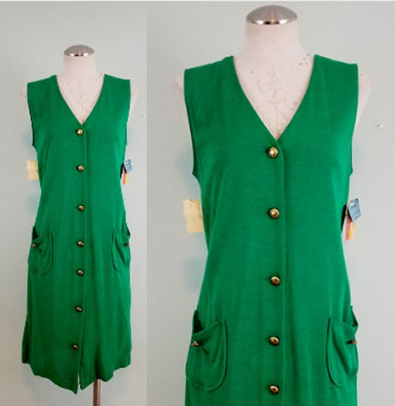 1970s Deadstock Jumper/ NOS Button Front Kelly Green Midi / Dress with Pockets / Modern Size Small S to Medium M