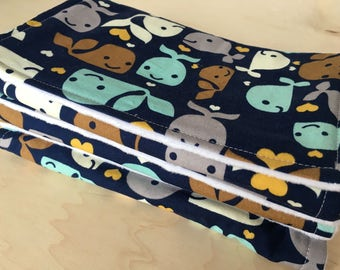 Burp cloth with flannel lining and minky back. Whale print. Baby shower gift.