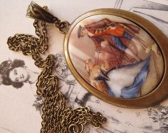 old & new Baroque love chain, Rococo, Baroque, necklace, Art Nouveau, old cabochon, 60-he years, Vintagelook, Vintagechain, old cabochon,.