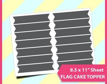 """Instant Download Mini cupcake flag Template, PSD, PNG and SVG Formats,  8.5x11"""" sheet,  Printable 124"""