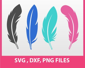 "Feather Clip Art, Feather SVG, DXF, PNG Formats,  8.5x11"" sheet,  Printable, Instant download 0011"