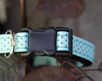 POLKA Light Blue Polka Dot Dog Collar