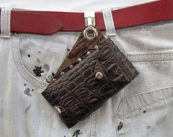 Leather clip on Smartphone Pouch, custom Cell Phone Belt Clip Holster Case, Leather Cell Phone Pouch made in USA, Belt Clip Cell Phone Pouch