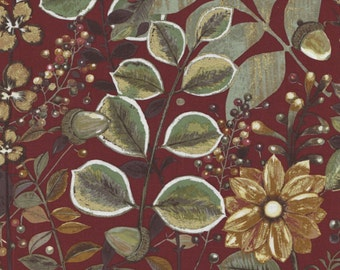 Shades of Autumn - Per Yd - PB Textiles - Norman Wyatt - Beyond Beautiful** Fronds and Berries on Wine
