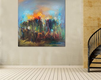 "55"" Extra Large Oil Painting, Modern Art, Landscape, Oil Painting Abstract, Large Abstract Art, Living Room Decor, Large Wall Art Painting"
