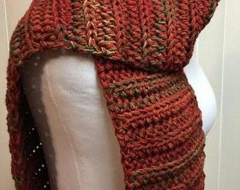 Burnt Orange Winter Scarf, Crochet Scarf, Open End Chunky Scarf, Thick Winter Scarf, Chunky Scarf, Fall Scarf, Crochet Scarf, Winter Scarf