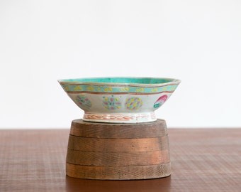 Vintage Hand Painted Chinese Ceramic Bowl with Turquoise Blue Interior Circa 1940's // Asian, Mid Century, Bohemian, Porcelain, Hipster