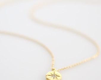Starburst Necklace, Northstar Necklace, Star Pendant Necklace, Dazzling Starburst Necklace, Small Coin Pendant Necklace