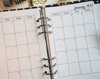 Monthly On 2 Pages Planner Inserts - Half Letter Size for A5 Planners - Sunday Start