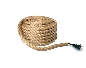 Bulk Electric Rope light cord by the foot Manila rope w/ Electrical wire, Nautical rope, Jute cord cover