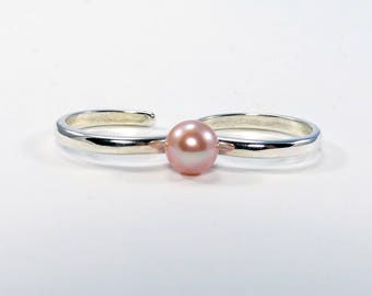 Double Finger Ring, Sterling Silver Double Finger Ring, Two Finger Ring, Pearl Ring, Pink Pearl