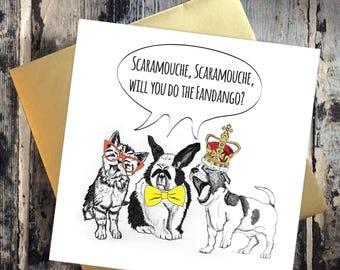 Freddie Mercury Birthday Card Queen Funny Bohemian Rhapsody Lyric Greetings card Illustration Singing Cat, Rabbit and Dog Scaramouche Rock