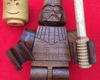 wooden lego man darth vador