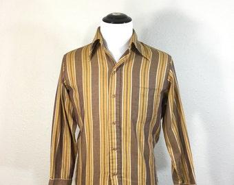 70's striped 50/50 blend button up shirt mens size medium