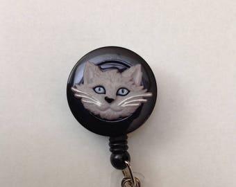 Pretty grey kitty retractable badge reel
