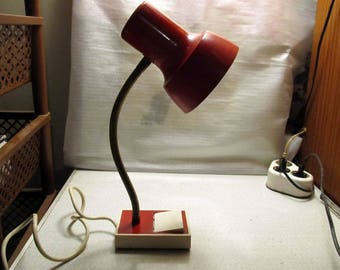 Mid Century Modern Red & White Gooseneck Lamp