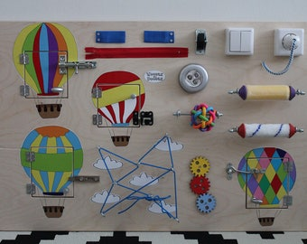 """Busy Board """"Balloons"""", Activity Board, Sensory Board, Montessori educational Toy, Wooden Toy, Fine motor skills board for toddlers & babies"""