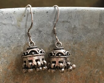 Little Jhumka earrings, sterling domes and drops