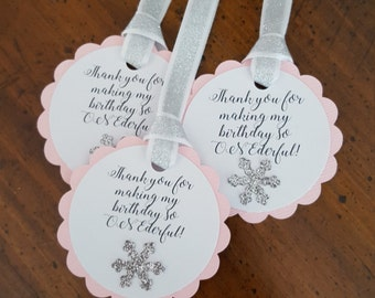 winter ONEderland party favor tags * pink and silver party favor tags * winter ONEderland birthday decorations * winter ONEderland